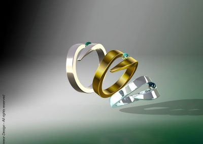 Irit Schneor 2008  Silver, Gold with Peridot gemstone rings design
