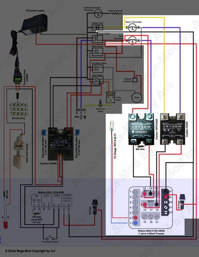 Avi's Silvia Mega-Mod Brew and Steam control schematic