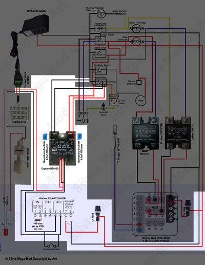 Avi's Silvia Mega-Mod Brew timer schematic