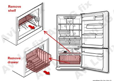 Remove shelf and drawer drawing