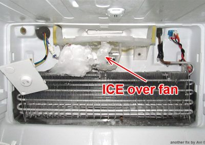 Ice over fan