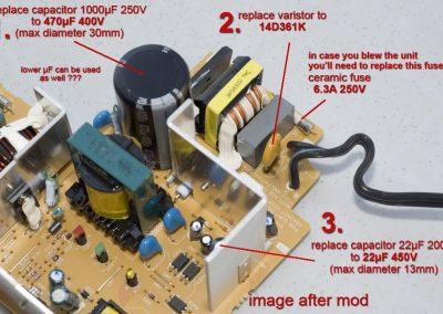 Makita DC18RA components after mod