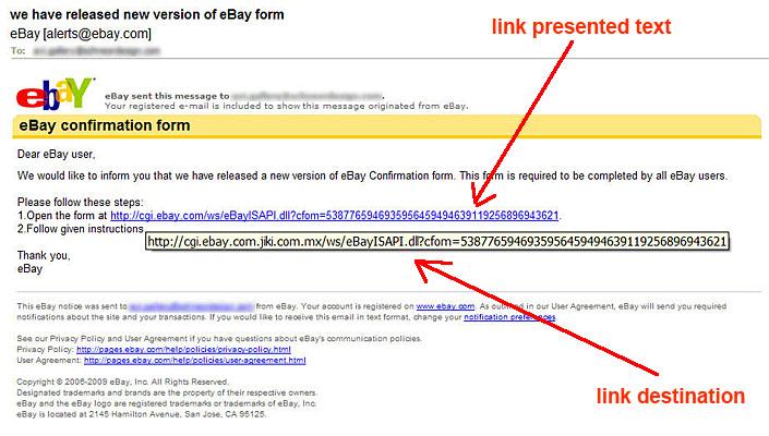 sample of eBay phishing eMail