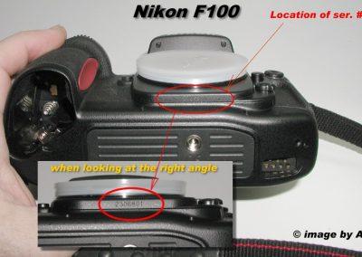 Nikon F100 body serial location