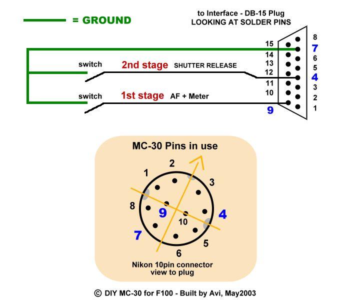 Avi's Nikon F100 MC-30 remote schematic