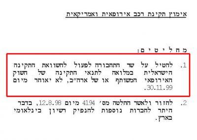 החלטת ממשלה 156 מ-22.08.1999