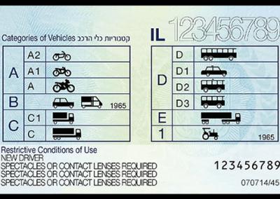 גב רישיון הנהיגה הישראלי מ־2018