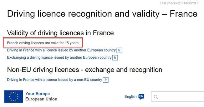 תוקף הרישיון בצרפת מאתר האיחוד האירופאי