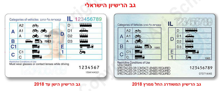 מראה גב רישיונות ישראלים לפני ואחרי מרץ 2018