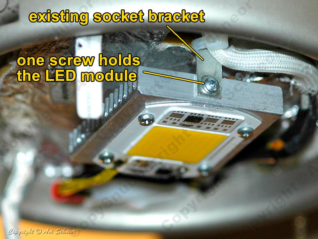 LED light module installed on bracket