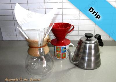 דוגמא למכשירי זילוף/טפטוף דריפ ידניים Drip coffee maker