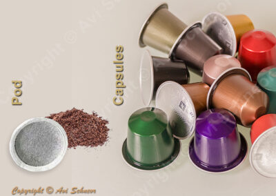 דוגמא לקפסולות ופוד קפה Sample of pod and capsules